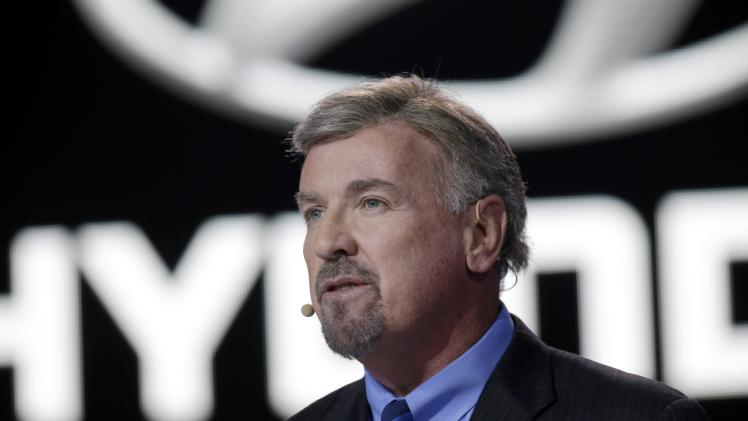 Hyundai President and CEO David Zuchowski, discusses the automaker's Genesis vehicle at the North American International Auto Show in Detroit, Monday, Jan. 13, 2014. (AP Photo/Carlos Osorio)
